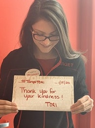 Target Tori will give away some of the money to charities that support retail workers.