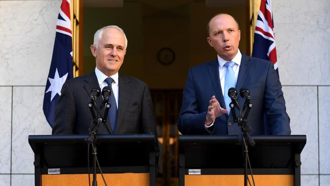 Prime Minister Malcolm Turnbull and Immigration Minister Peter Dutton announce the abolition of 457 visas last week. Picture: AAP