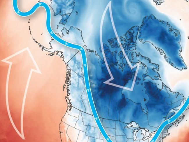 A Graphic News map explaining the polar vortex and jet stream activity.