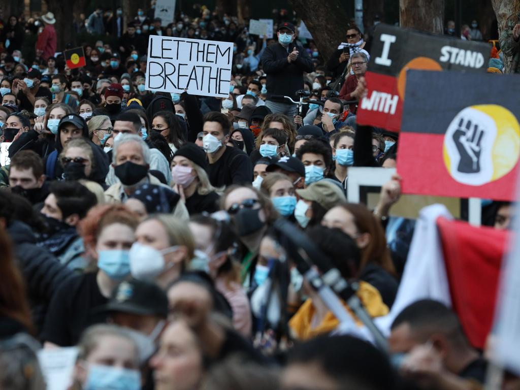 Black Lives Matter protest in Sydney in June. Picture: David Swift