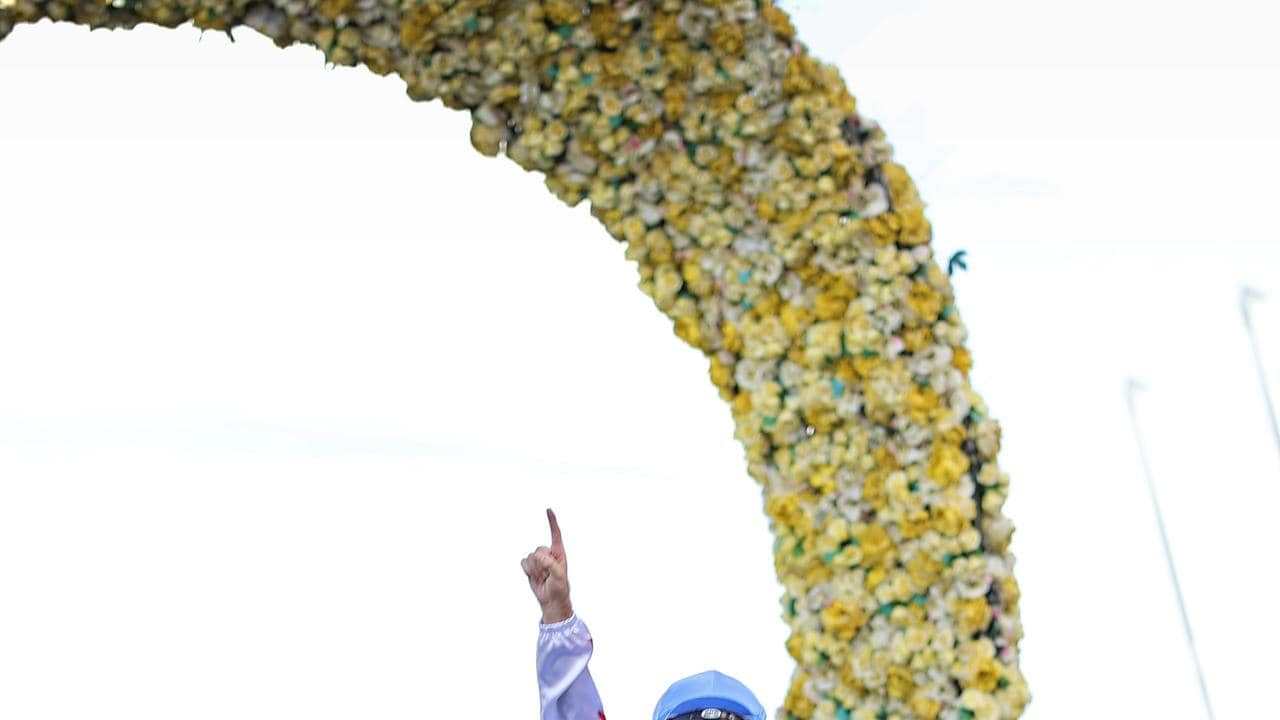 Tommy Berry returns to scale after winning the Golden Slipper. (Photo by Mark Evans/Getty Images)