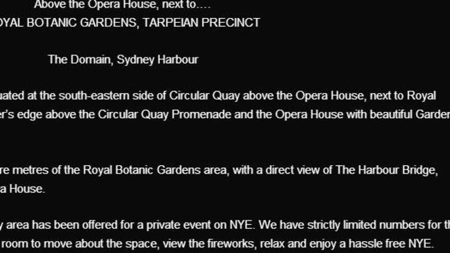 A page from the event's website, now taken down, promises 'a hassle free NYE'.