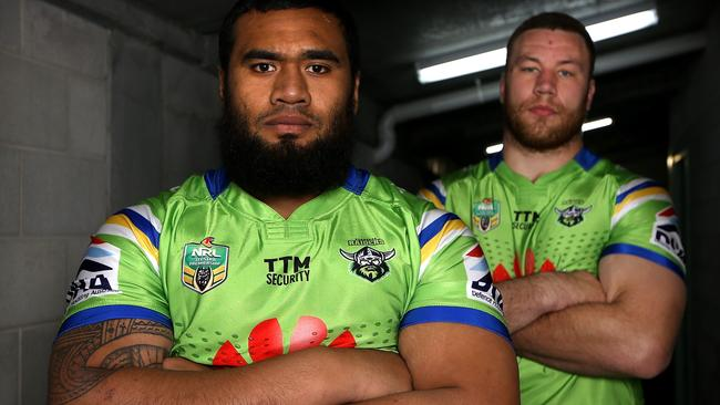 The Raiders' two 120 kilo-plus monsters Junior Paulo and Shannon Boyd.