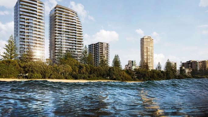 View from the water of the twin tower development approved for Burleigh on the Gold Coast.