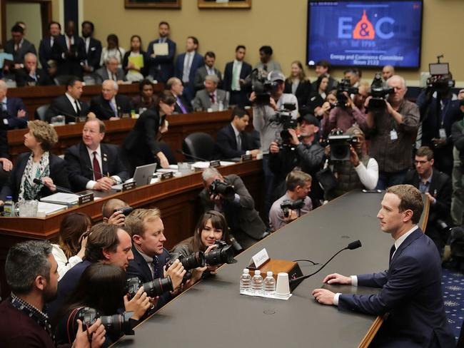 Facebook co-founder, Chairman and CEO Mark Zuckerberg prepares to testify before the House Energy and Commerce Committee in the Rayburn House Office Building on Capitol Hill April 11, 2018 in Washington, DC. Picture: Chip Somodevilla