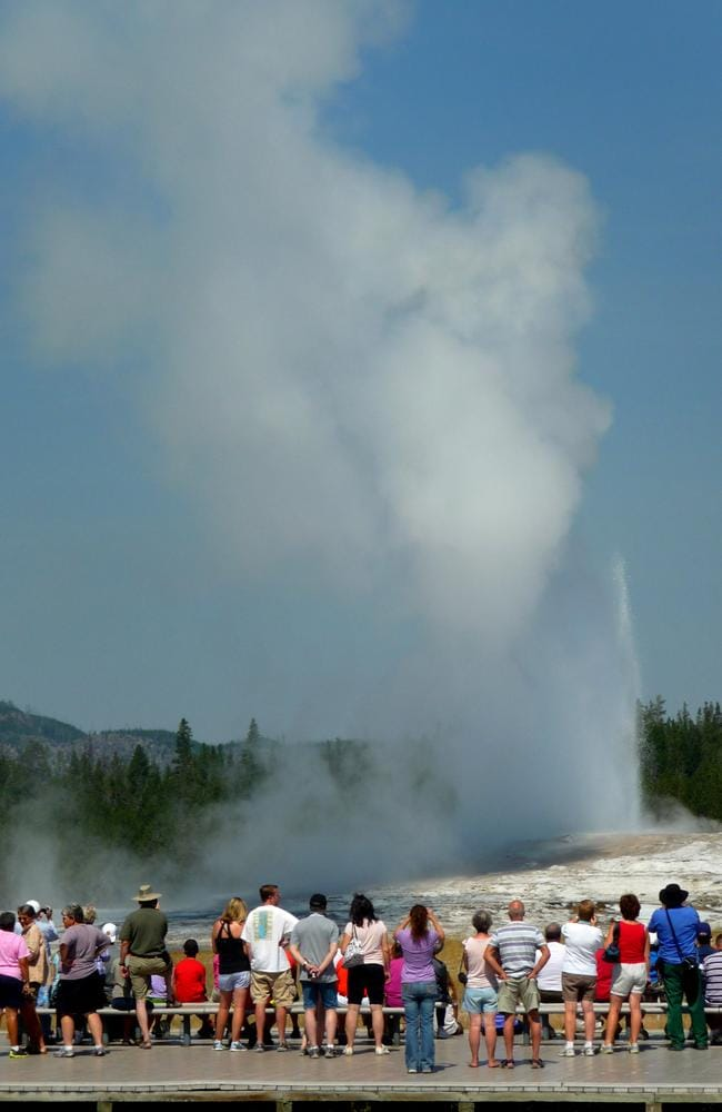 The Old Faithful geyser can reach heights of 55m and temperatures of 177C.