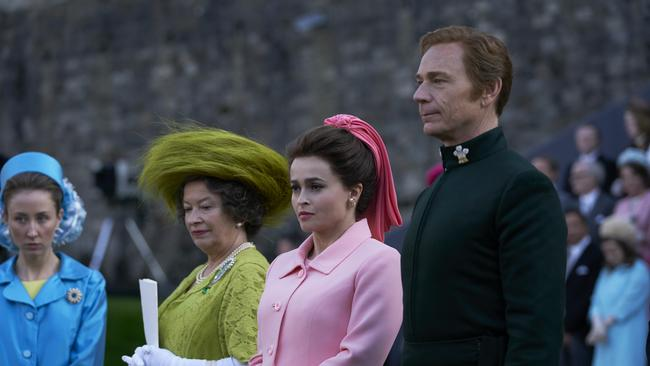 Erin Doherty, Marion Bailey, Helena Bonham Carter and Ben Daniels in The Crown. Supplied by Netflix.