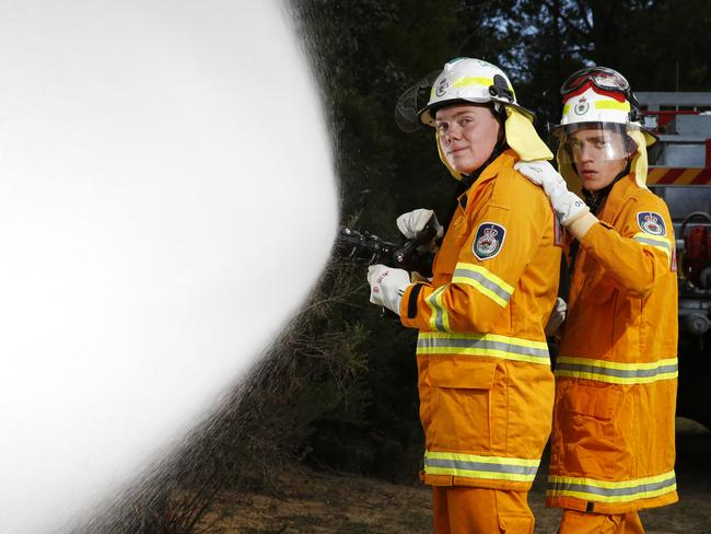 Logan Clark and Jack Roth participate in the statewide NSW Rural Fire Service Cadet training. Picture: Richard Dobson