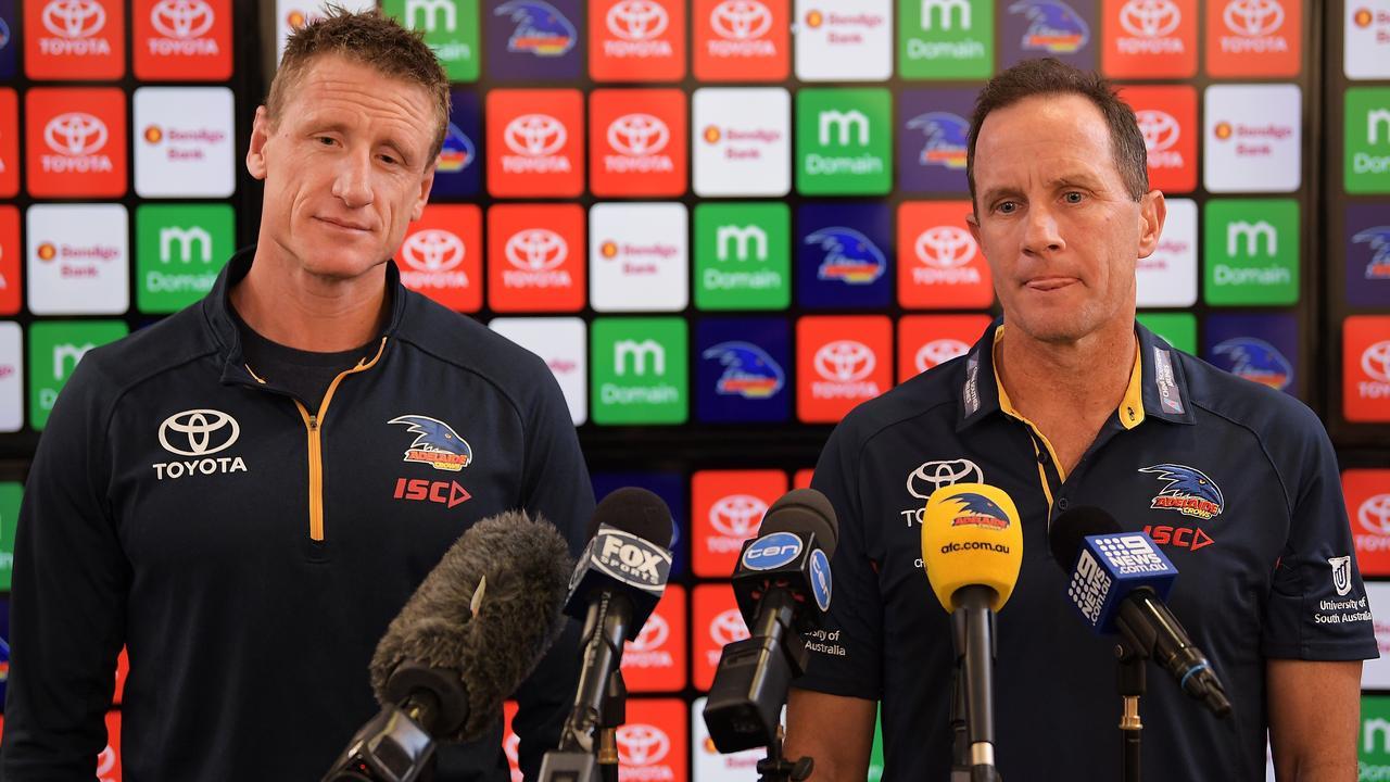 Adelaide Crows football manager Brett Burton and senior coach Don Pyke.