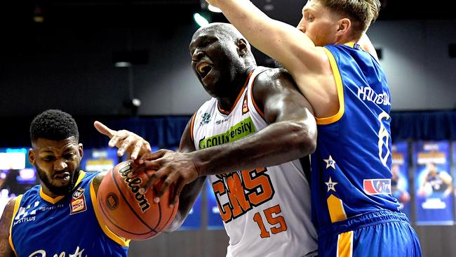 The Taipans' Nathan Jawai is hemmed in. Picture: Getty Images