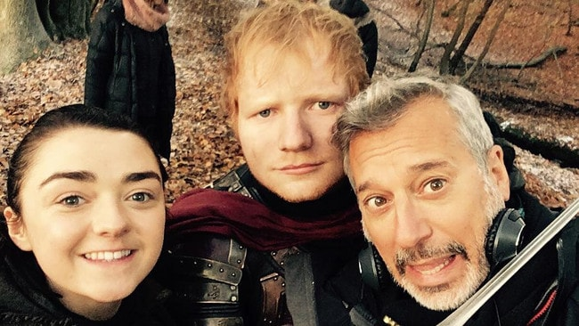 Ed Sheeran on the set of Game of Thrones.