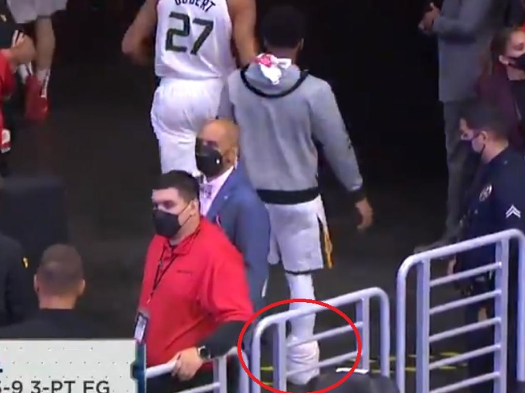 Donovan Mitchell leaves the court.