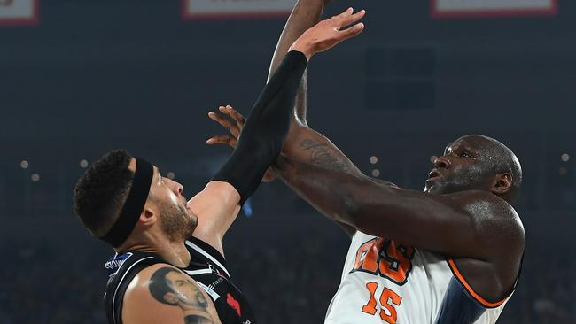 Nathan Jawai and Josh Boone went toe to toe. Picture: Getty