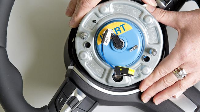 The faulty airbag inflator can spray deadly shrapnel in the case of an accident. Picture: AP.