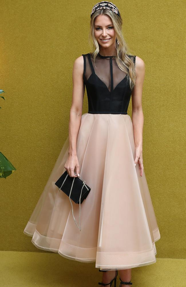 Jennifer Hawkins in the Myer Marquee. Picture: Alex Coppel.