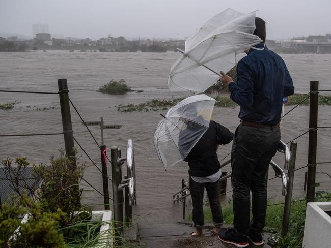 The flooded Tama River. Picture: Getty