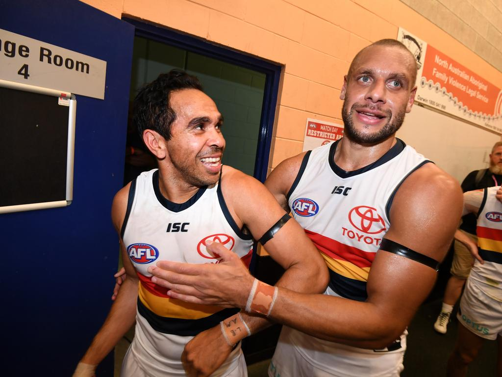 Ellis-Yolmen, right, with former teammate Eddie Betts in their Crows colours. Picture: AAP IMAGE/DAN PELED