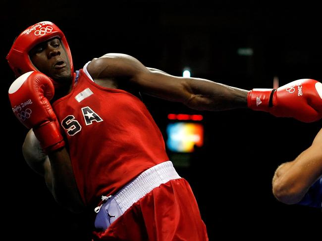 A skinny Deontay Wilder competing at the 2008 Olympics in Beijing