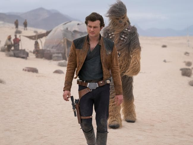 Alden Ehrenreich and Joonas Suotamo in Solo: A Star Wars Story. Ehrenreich, who plays Han Solo is adamant he didn't get the original directors fired. Picture: Jonathan Olley/Lucasfilm via AP