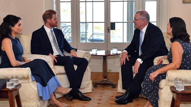Meghan and Harry popped next door to Kirribilli House to meet Scott Morrison and his wife Jenny. Picture: Saeed Kahn