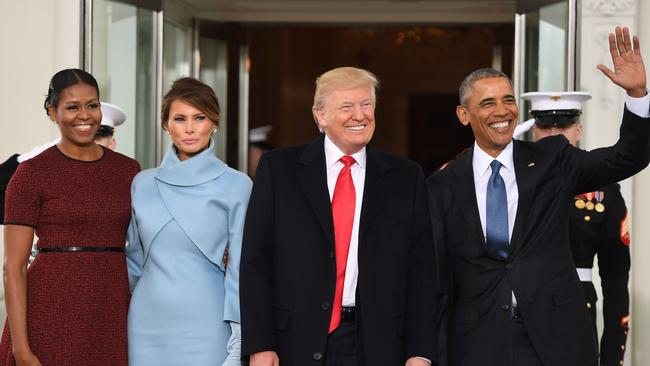 Donald Trump with Barack Obama and their wives on Inauguration Day. Picture: Jim Watson/AFP