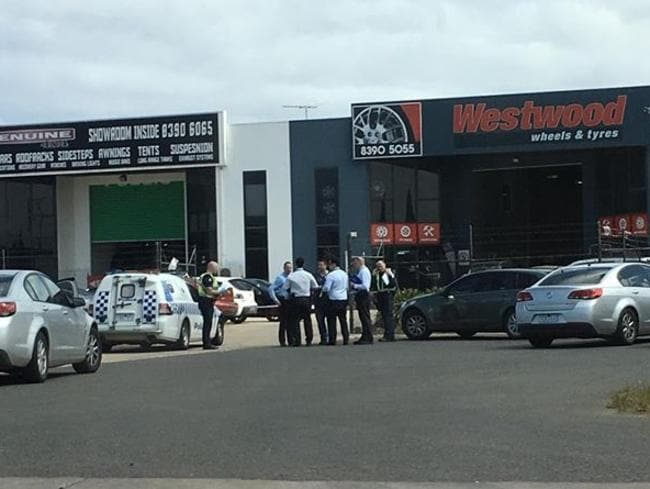 The scene outside the business in Westwood Drive where the shooting occurred. Picture: Facebook