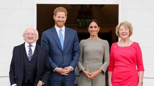 Prince Harry and Meghan with Ireland's President Michael Higgins and wife Sabina in Dublin. Credit: AFP Photo/Pool/AFP Photo/MaxwellsSource:AFP