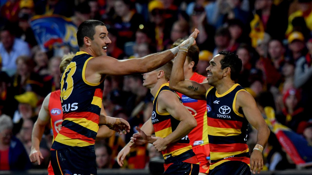 Taylor Walker and Eddie Betts had plenty to celebrate on Saturday. Photo: Sam Wundke/AAP Image.