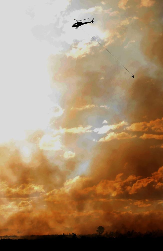 The Salt Ash fire was fought from land and air. Picture: AAP