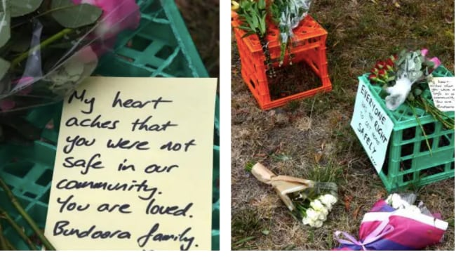 Floral tributes were left at the scene of the crime. Picture: Nicole Garmston Source:News Corp Australia