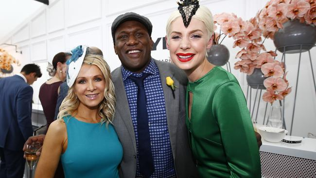 Danielle Spencer, Wendell Sailor and Kate Peck at the 2014 Melbourne Cup. Picture: Bradley Hunter