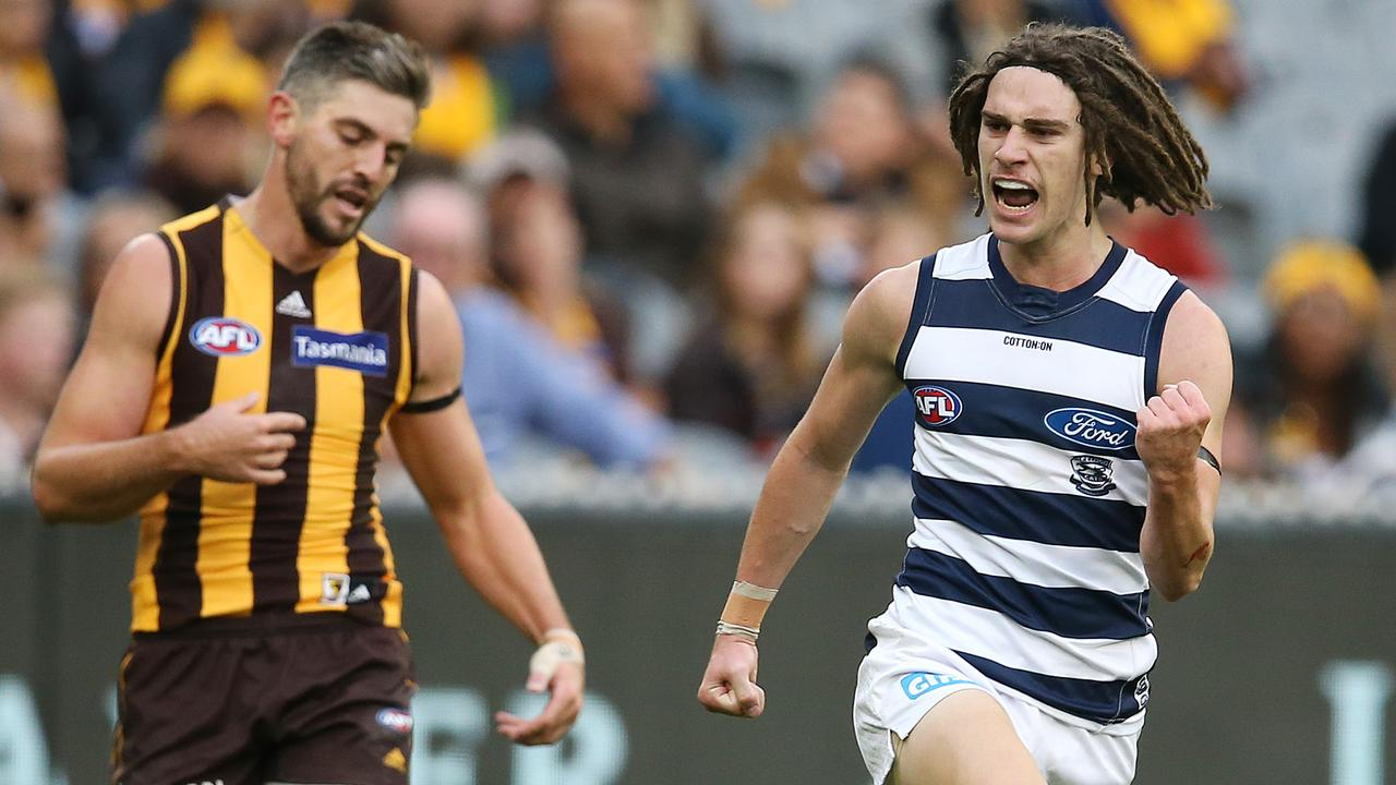 Gryan Miers was one of the crucial Geelong youngsters in Easter Monday's win over Hawthorn. Photo: Michael Klein.