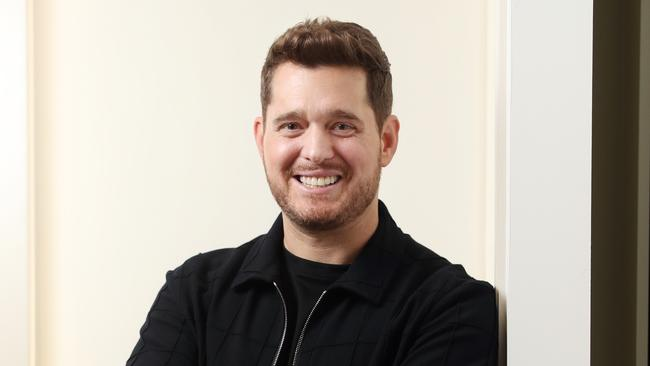 A Michael Buble lifesized cardboard cut-out is up for auction. Picture: Richard Dobson