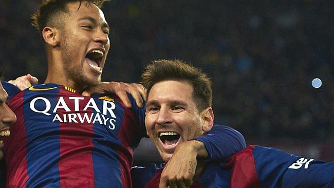 654a653c71ad7 Neymar with Lionel Messi after scoring against Atletico Madrid during a  Spanish La Liga soccer match