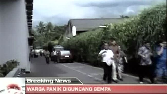 The scene on a street in Aceh, Indonesia shortly after a strong earthquake hit, as shown on Indonesian television TV One. Picture: AP