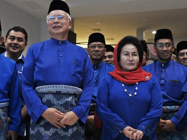 Ousted PM Najib Razak and wife Rosmah Mansor before their shocking electoral defeat and corruption probe. Picture: Sadiq Asyraf.