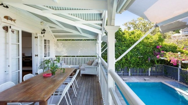 A verandah overlooks the pool at Blenheim House.