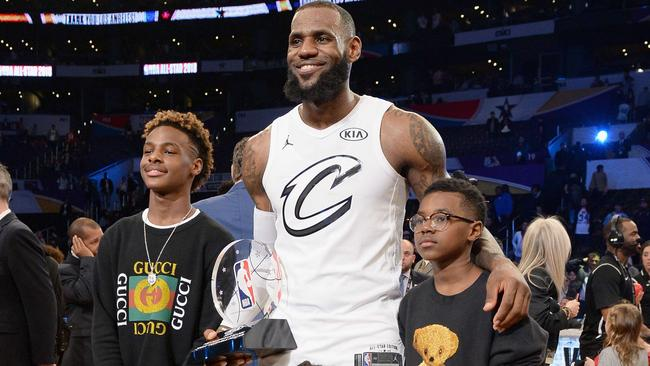 low priced 7bb64 e6c54 LeBron James with son LeBron Jr Bronny at Nike Elite Youth ...