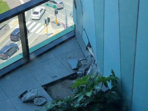 Opal Tower resident Bill Badie, 28, who lives on level 11 with his best friend, took a photo of apparent cracking in the building's concrete.