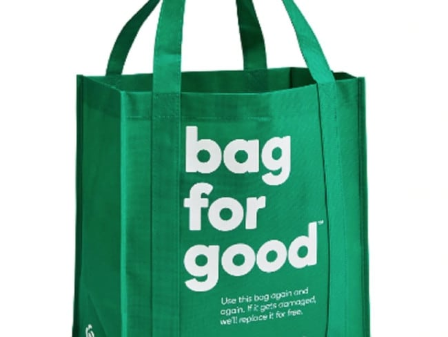 The money made from the 99c 'Bags for good' green bags will go towards schools.