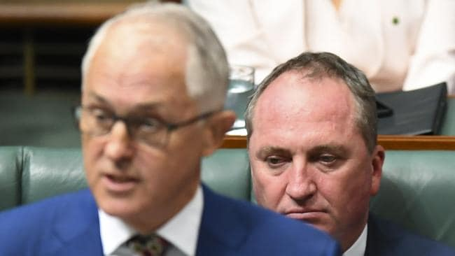Malcolm Turnbull and Barnaby Joyce in parliament.