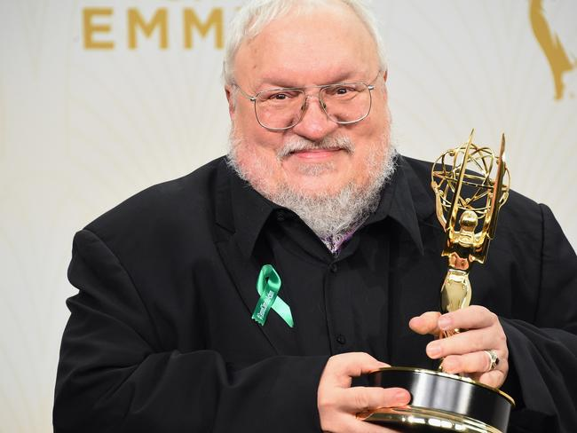 George R. R. Martin with his Emmy. Picture: AFP