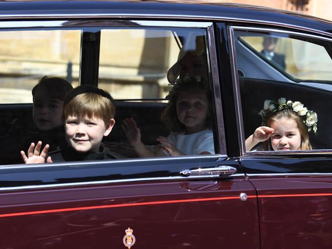 Princess Charlotte and Prince George seen arriving. MEGA