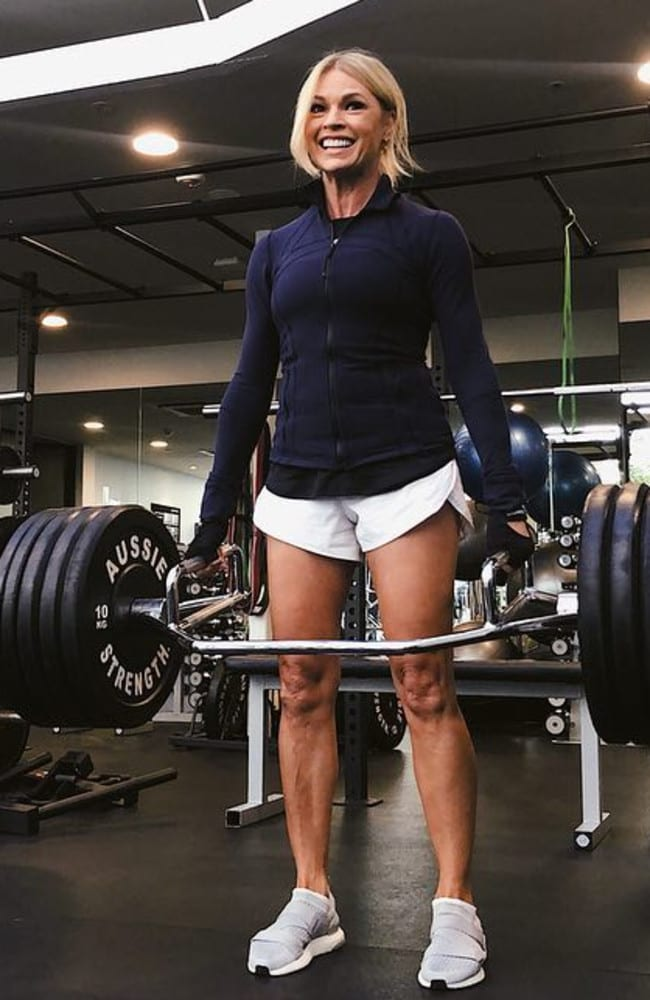 This is when she deadlifted 100kg — but you won't find her in the gym as often as doing home workouts. She also avoids working out her arms and legs which are naturally toned from dancing most her life.