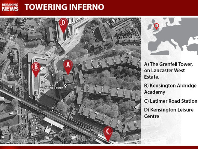 The Grenfell Tower in relation to major surrounding landmarks. Picture: NewsCorp