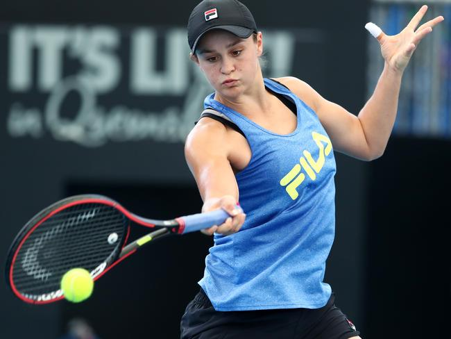 Ash Barty practices ahead of the 2020 Brisbane International at Pat Rafter Arena. (Photo by Chris Hyde/Getty Images)