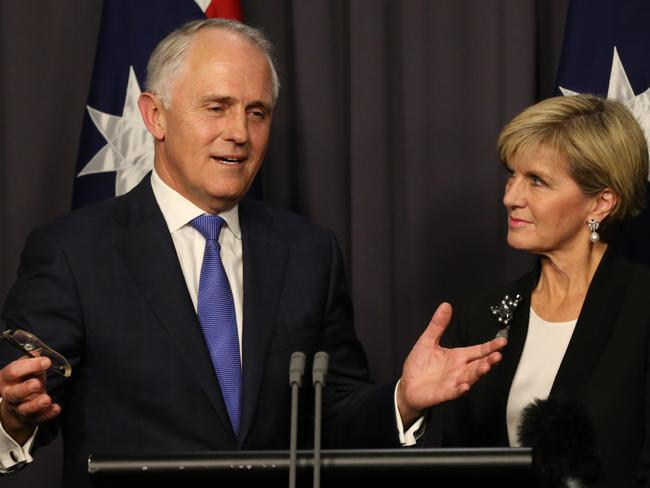 Malcolm Turnbull looked right at home addressing the media with Julie Bishop after the vote. Picture: Ray Strange