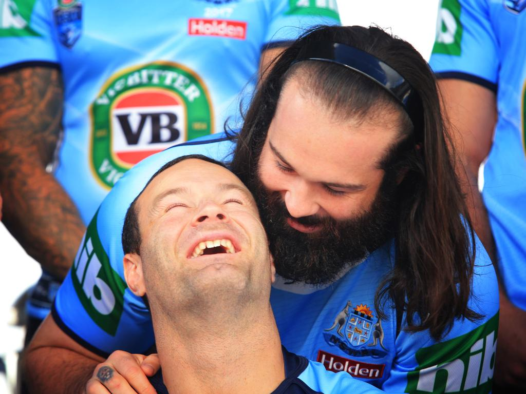 Boyd Cordner and Aaron Woods during the NSW Blues camp last year.