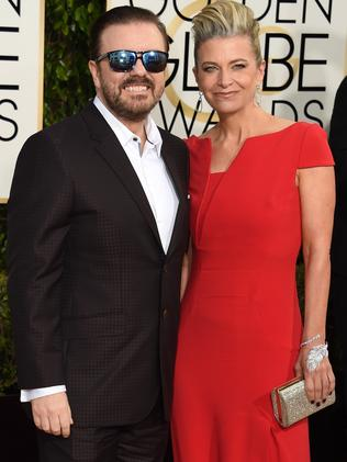 Ricky Gervais and Jane Fallon. Picture: AFP