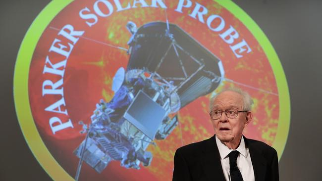 University of Chicago astrophysicist Dr. Eugene Parker listens as NASA officials announce plans for its probe into the sun's atmosphere. Picture: AFP